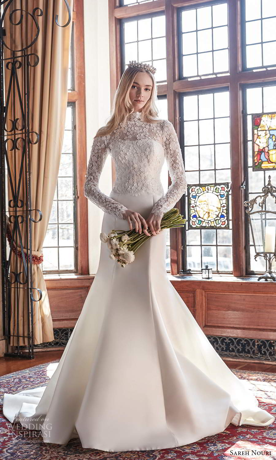 sareh nouri spring 2022 bridal sheer long sleeves high neckline embellished lace bodice clean skirt fit flare mermaid wedding dress chapel train (3) mv