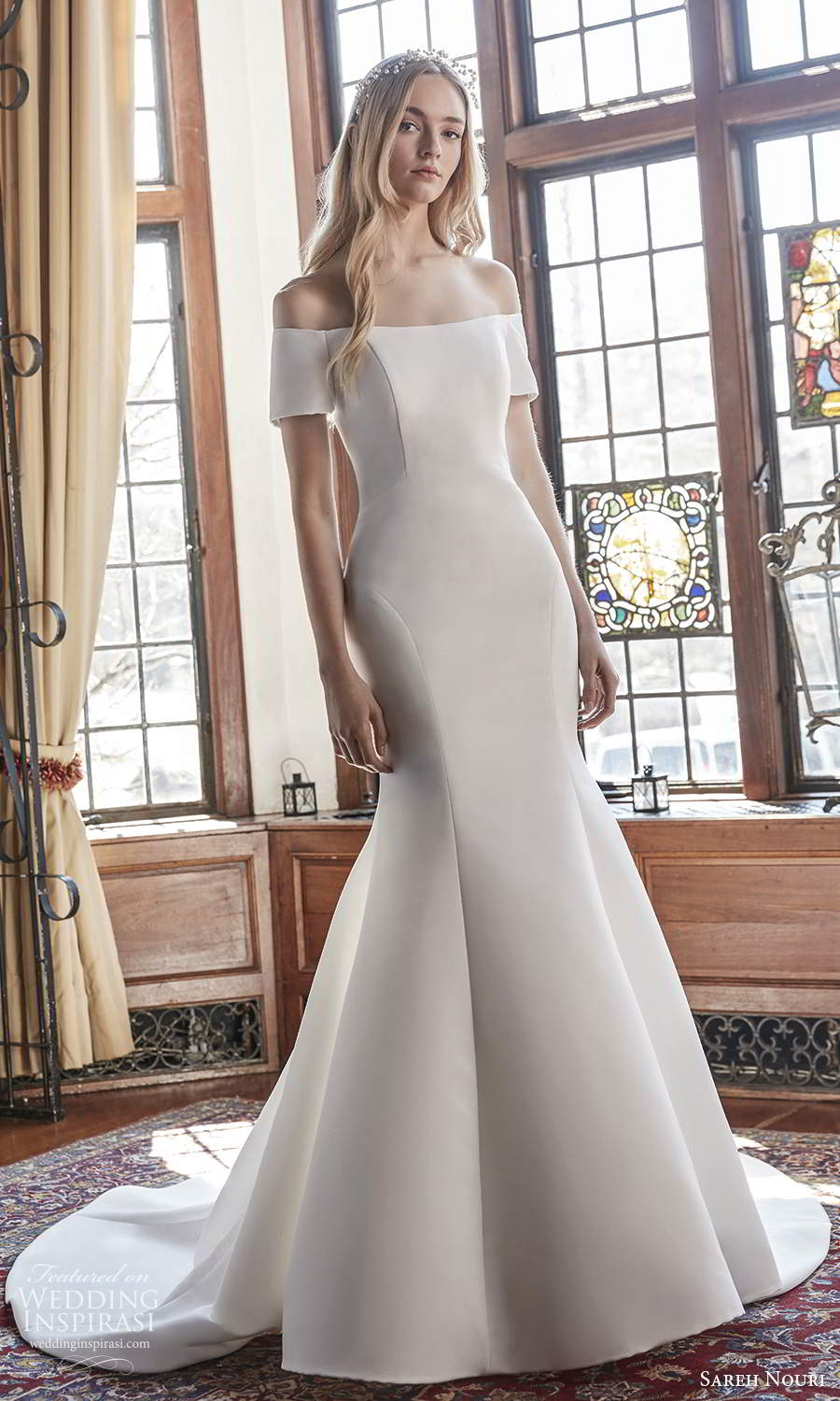 sareh nouri spring 2022 bridal short sleeve off shoulder straight across neckline clean minimalist fit flare mermaid wedding dress chapel train (10) mv