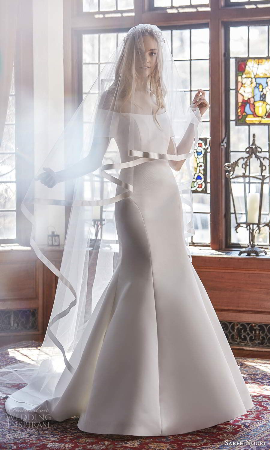 sareh nouri spring 2022 bridal short sleeve off shoulder straight across neckline clean minimalist fit flare mermaid wedding dress chapel train veil (10) mv