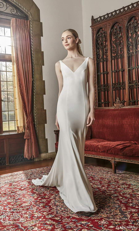 sareh nouri spring 2022 bridal sleeveless straps v neckline clean minimalist fit flare mermaid wedding dress chapel train (4) mv
