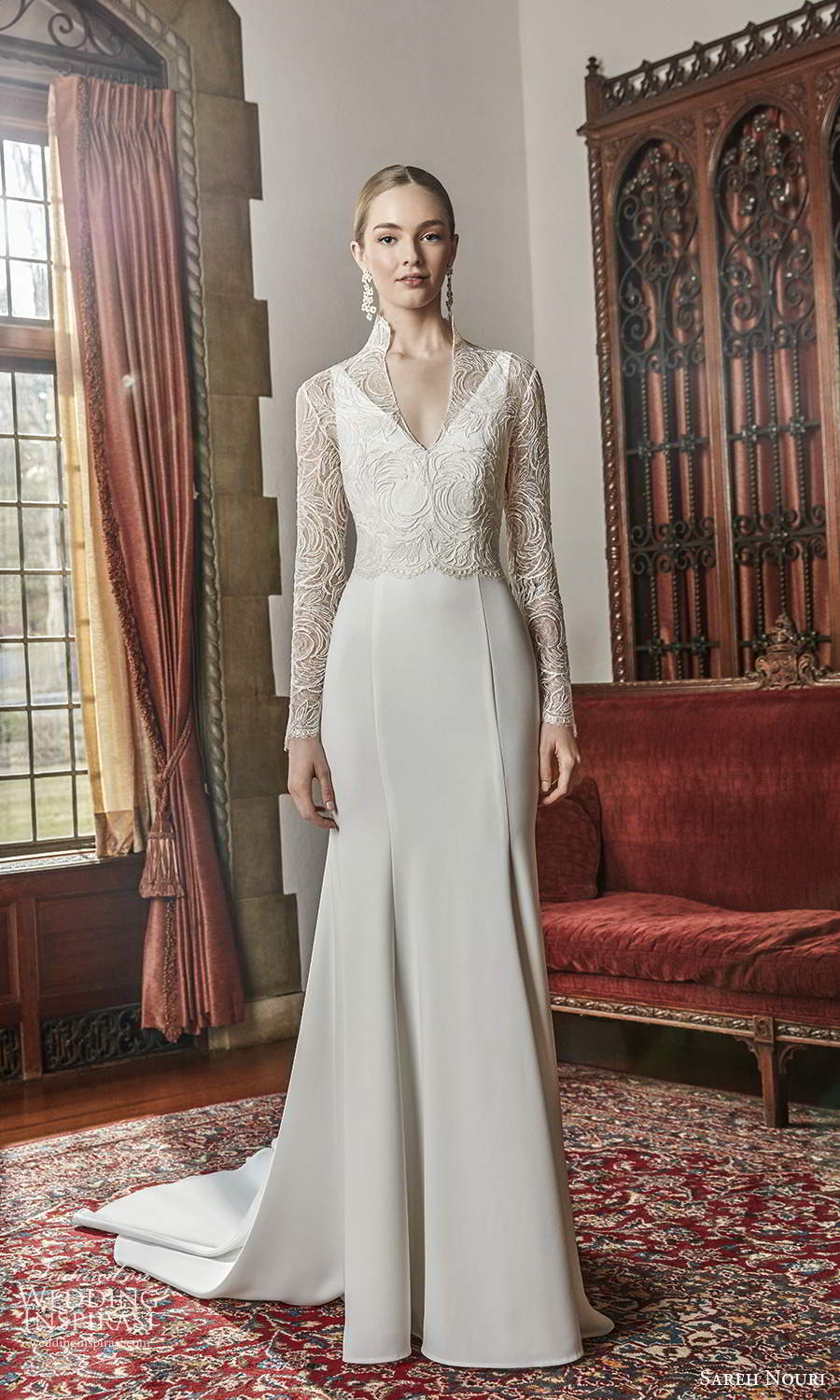 sareh nouri spring 2022 bridal sleeveless straps v neckline clean minimalist fit flare mermaid wedding dress chapel train long sleeve lace jacket (4) mv