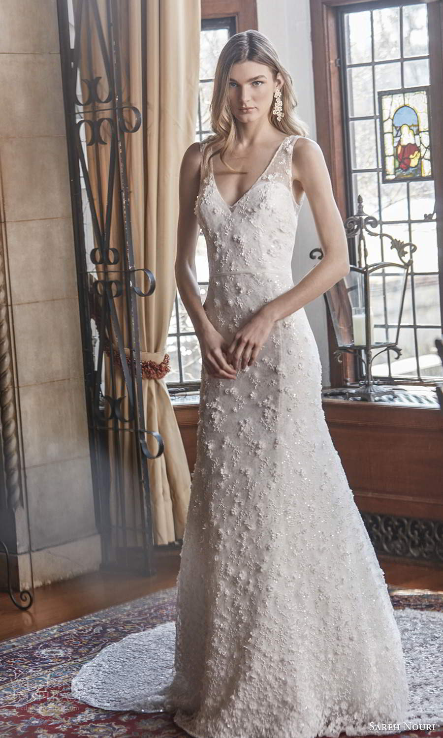 sareh nouri spring 2022 bridal sleeveless straps v neckline fully embellished sheat trumpet wedding dress chapel train (8) mv