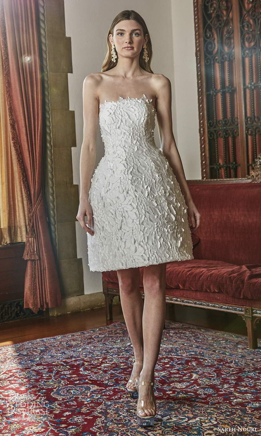 sareh nouri spring 2022 bridal strapless straight across neckline fully embellished short a line wedding dress (12) mv