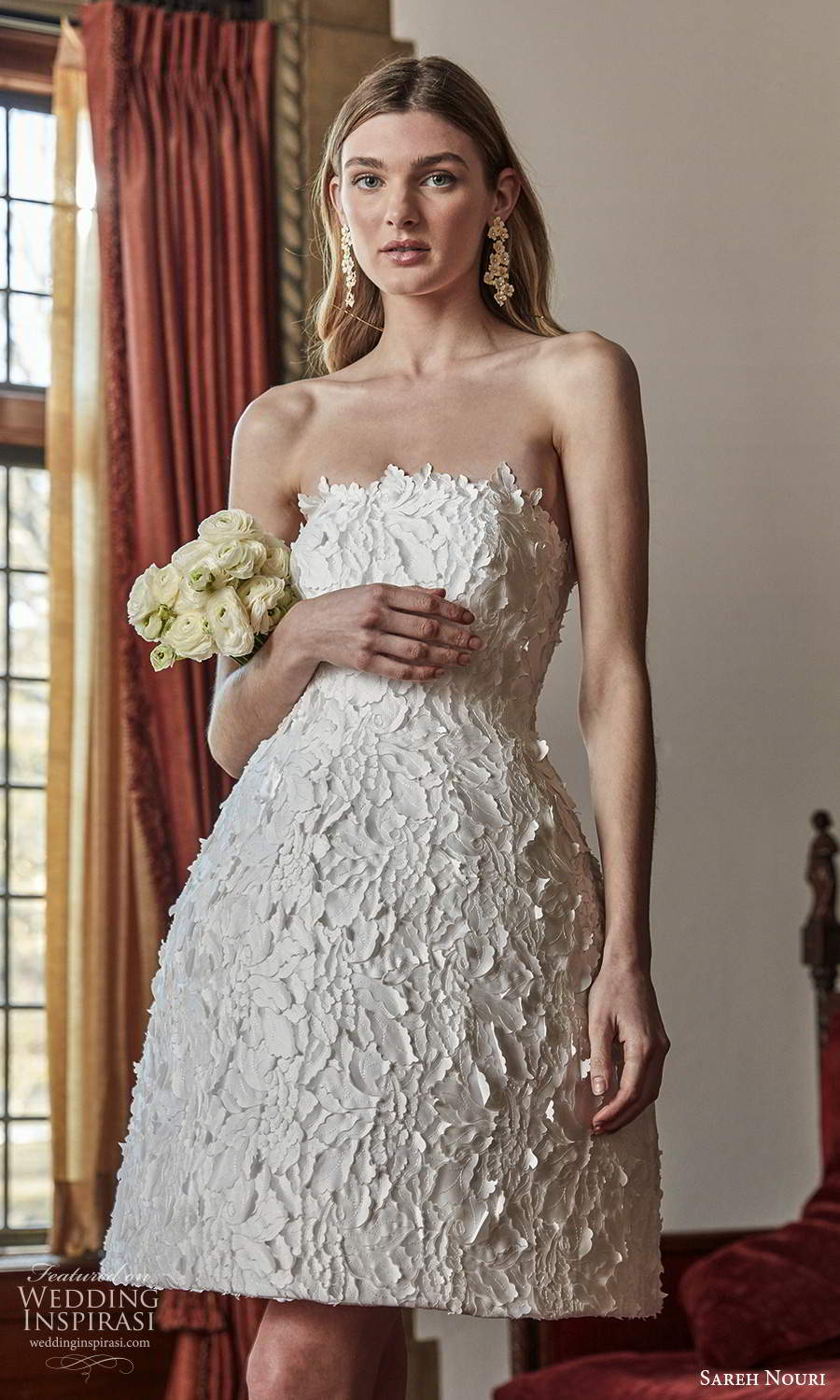 sareh nouri spring 2022 bridal strapless straight across neckline fully embellished short a line wedding dress (12) zv