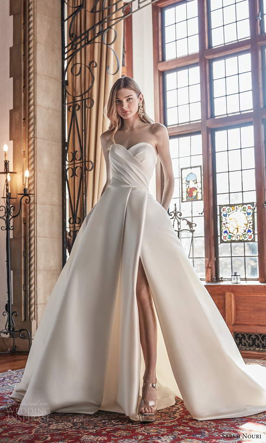 sareh nouri spring 2022 bridal strapless sweetheart neckline pleated bodice a line ball gown wedding dress chapel train slit skirt (6) mv