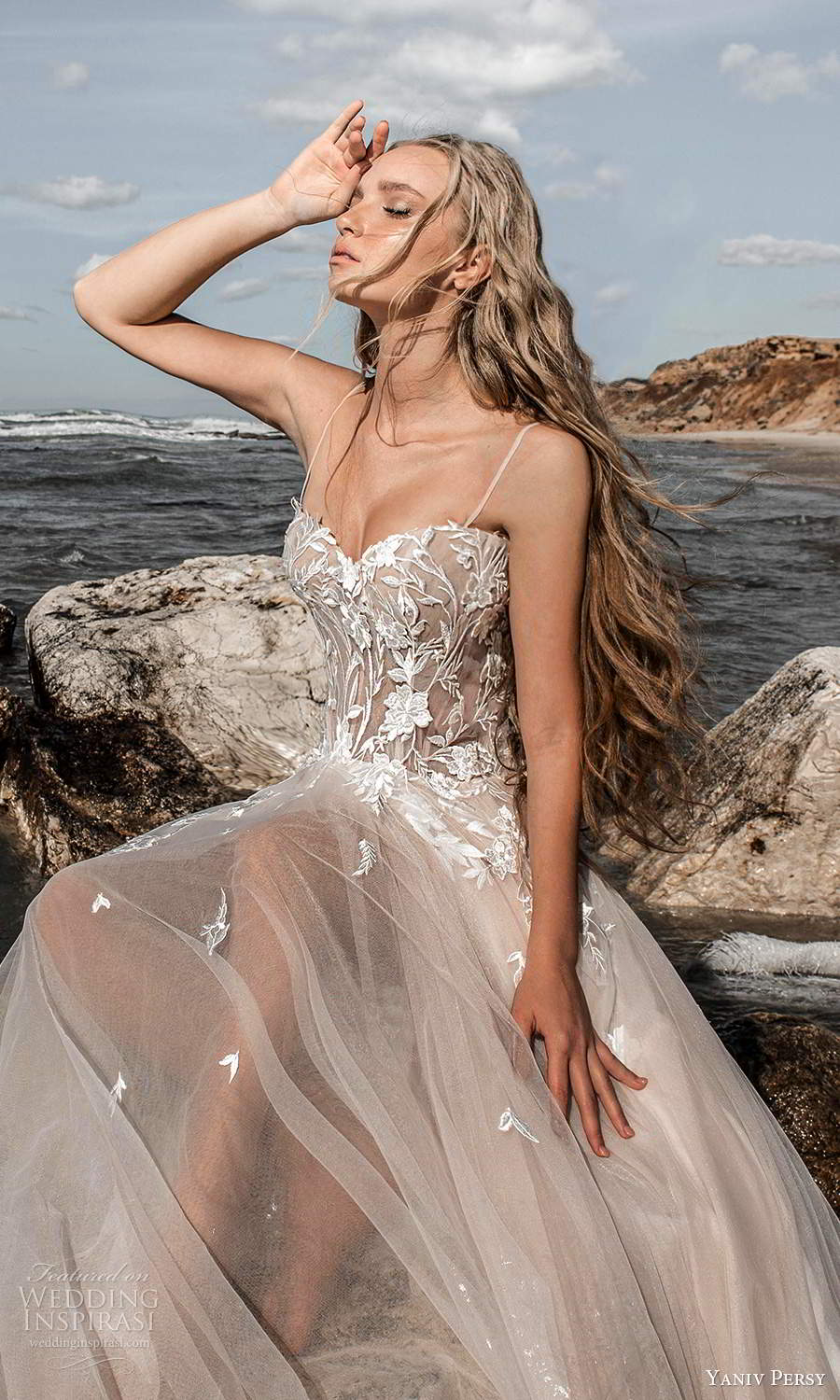 yaniv persy 2021 bridal sleeveless thin straps semi sweethart neckline heavily embellished bodice a line ball gown wedding dress chapel train (1) zv