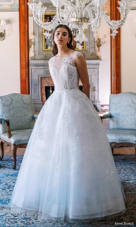 anne barge spring 2022 bridal sheer cap sleeves sheer jewel neck sweetheart neckline embellished lace a line ball gown wedding dress chapel train (4) mv