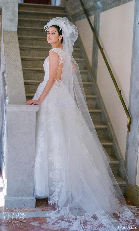 anne barge spring 2022 bridal sheer cap sleeves sheer jewel neck sweetheart neckline embellished lace a line ball gown wedding dress chapel train veil (4) bv