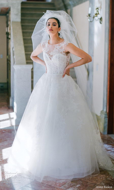 anne barge spring 2022 bridal sheer cap sleeves sheer jewel neck sweetheart neckline embellished lace a line ball gown wedding dress chapel train veil (4) mv