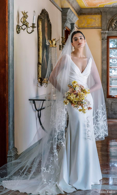 anne barge spring 2022 bridal sleeveless straps v neckline ruched bodice clean minimalist sheath wedding dress chapel train (5) mv