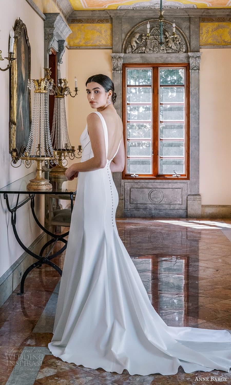 anne barge spring 2022 bridal sleeveless straps v neckline ruched bodice clean minimalist sheath wedding dress chapel train low back (5) bv
