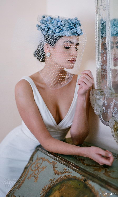 anne barge spring 2022 bridal sleeveless straps v neckline ruched bodice clean minimalist sheath wedding dress chapel train low back (5) zv