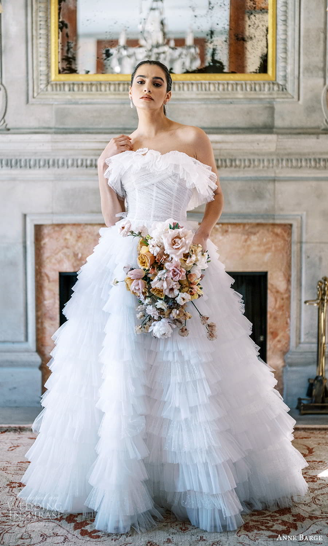 anne barge spring 2022 bridal strapless crumbcatcher neckline ruched bodice embelished a line ball gown wedding dress chapel train (9) mv