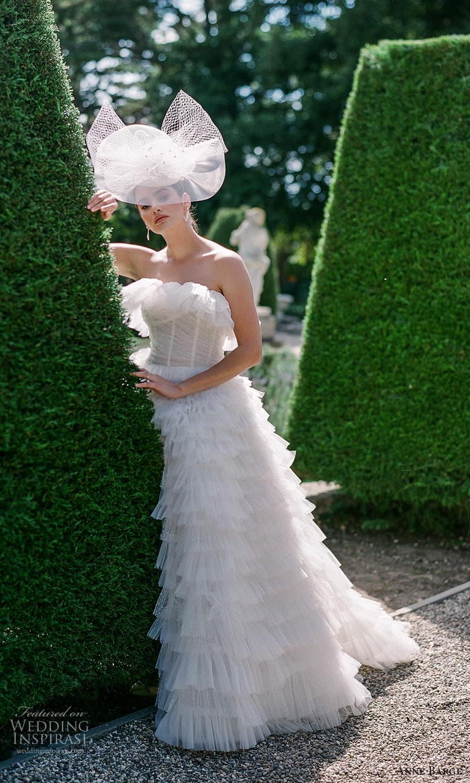 anne barge spring 2022 bridal strapless crumbcatcher neckline ruched bodice embelished a line ball gown wedding dress chapel train veil hat (9) mv