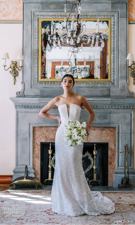 anne barge spring 2022 bridal strapless curve neckline embellished lace sheath trumpet wedding dress chapel train (2) mv