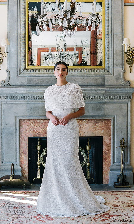 anne barge spring 2022 bridal strapless curve neckline embellished lace sheath trumpet wedding dress chapel train capelet (2) mv