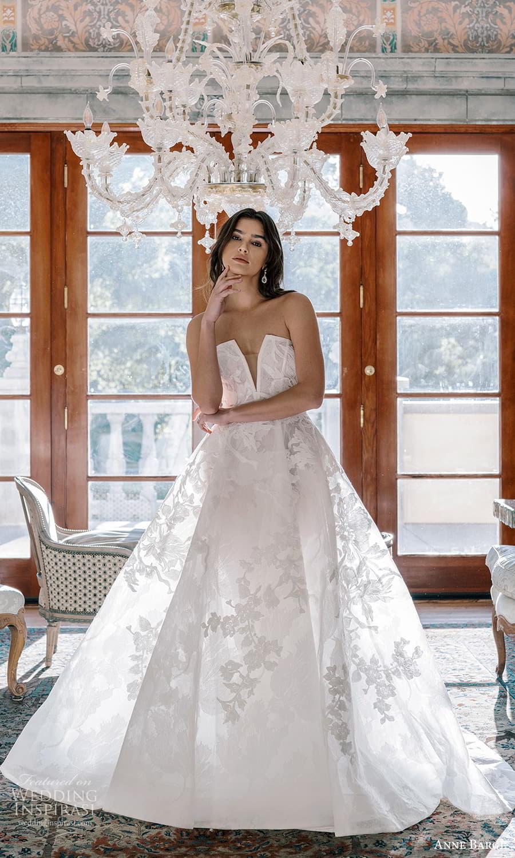 anne barge spring 2022 bridal strapless curve split neckline embellished a line ball gown wedding dress chapel train (1) fv
