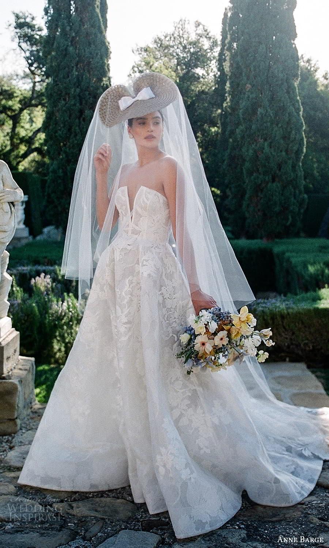 anne barge spring 2022 bridal strapless curve split neckline embellished a line ball gown wedding dress chapel train (1) mv