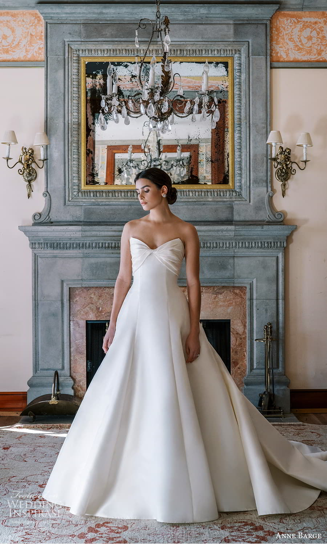 anne barge spring 2022 bridal strapless sweetheart neckline clean minimalist a line wedding dress chapel train (6) mv