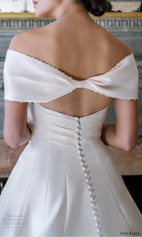 anne barge spring 2022 bridal strapless sweetheart neckline clean minimalist a line wedding dress chapel train shrug (6) zbv
