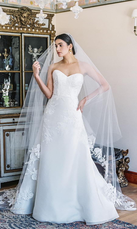 anne barge spring 2022 bridal strapless sweetheart neckline embellished a line wedding dress chapel train (7) mv