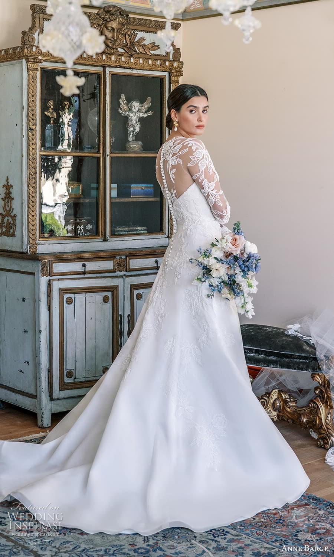 anne barge spring 2022 bridal strapless sweetheart neckline embellished a line wedding dress chapel train sheer long sleeve top (7) bv