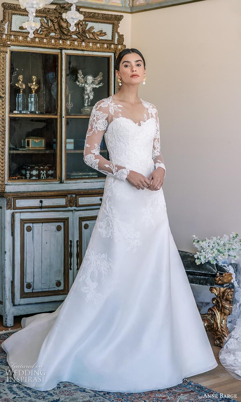 anne barge spring 2022 bridal strapless sweetheart neckline embellished a line wedding dress chapel train sheer long sleeve top (7) mv