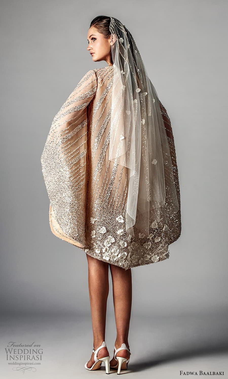 fadwa baalbaki spring 2021 bridal long kaftan sleeve jewel neckline fully embellished short wedding dress (3) bv