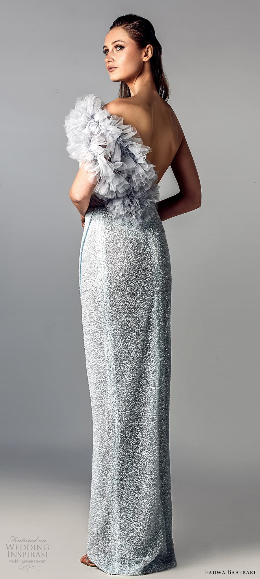 fadwa baalbaki spring 2021 bridal one shoulder strap ruched bodice sheath wedding dress light blue slit skirt (12) bv
