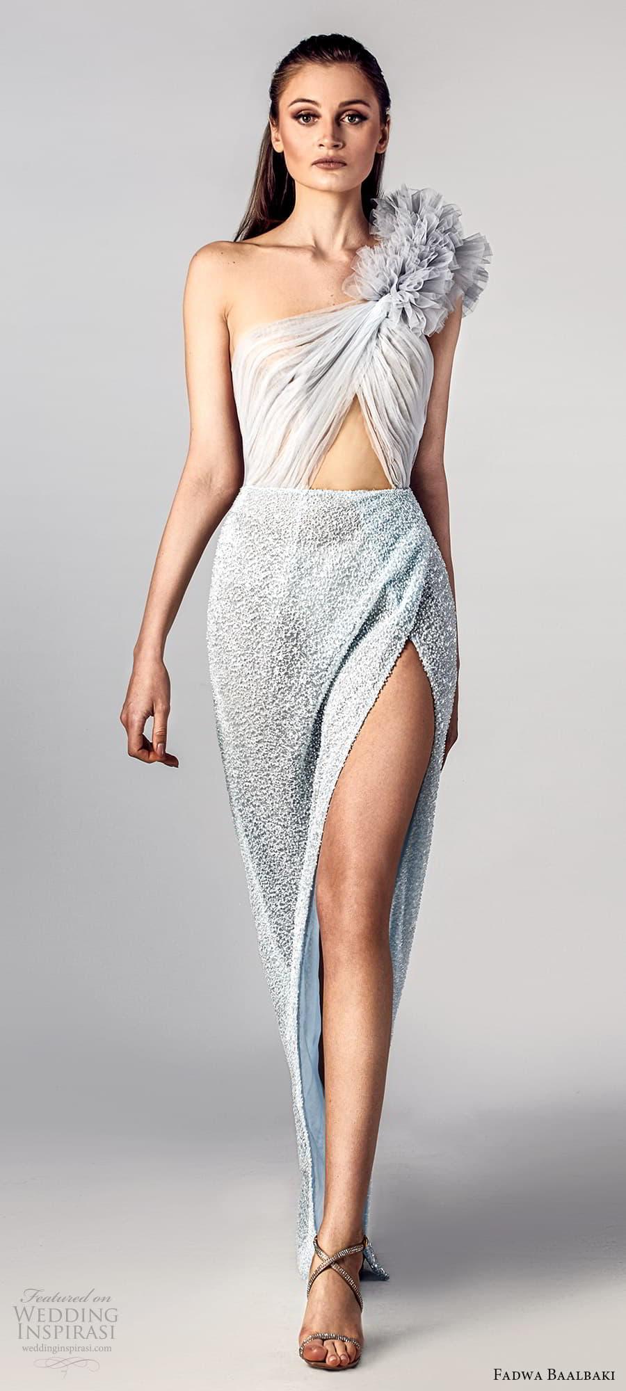 fadwa baalbaki spring 2021 bridal one shoulder strap ruched bodice sheath wedding dress light blue slit skirt (12) mv