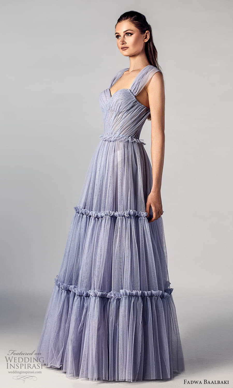 fadwa baalbaki spring 2021 bridal ruched thick straps sweetheart neckline a line wedding dress purple (11) mv