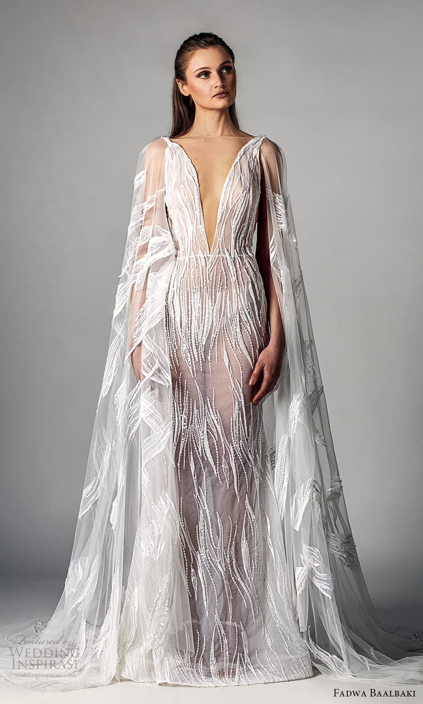 fadwa baalbaki spring 2021 bridal sheer cape long sleeves plunging v neckline fully embellished sheath wedding dress chapel train (1) mv