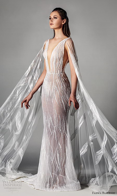 fadwa baalbaki spring 2021 bridal sheer cape long sleeves plunging v neckline fully embellished sheath wedding dress chapel train (1) sv