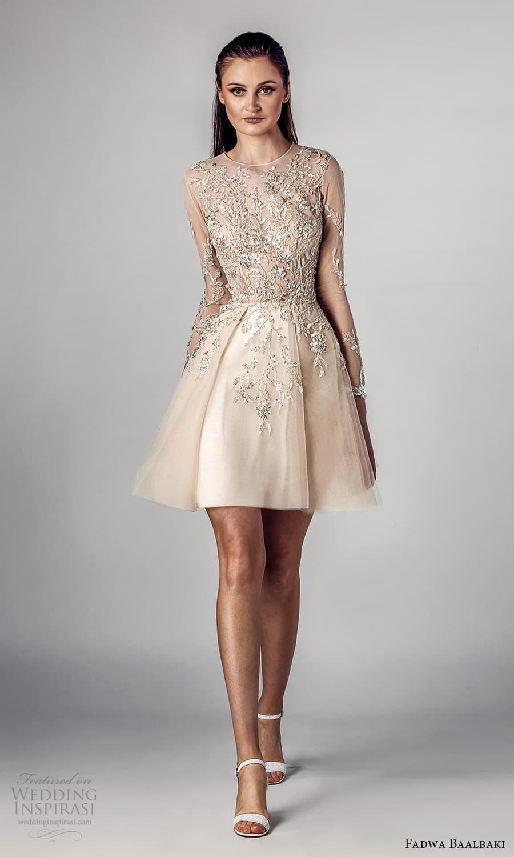 fadwa baalbaki spring 2021 bridal sheer long sleeves jewel neckline embellished bodice a line short wedding drress (6) mv