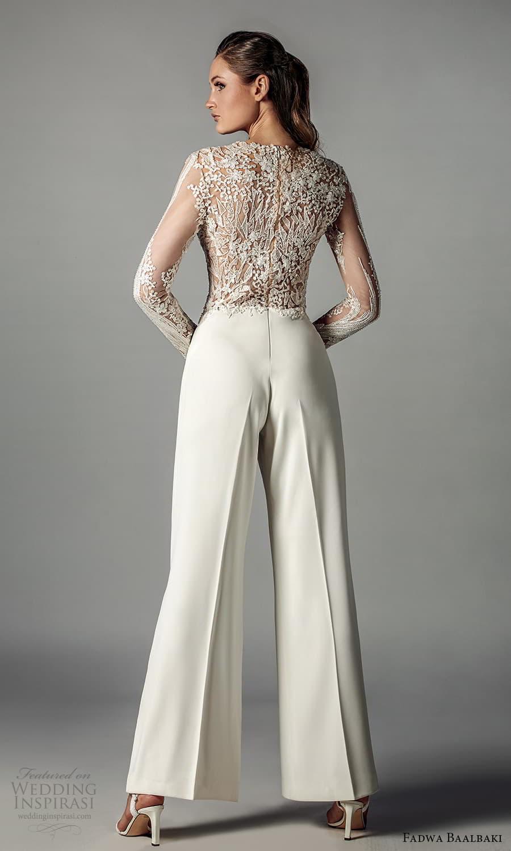 fadwa baalbaki spring 2021 bridal sheer long sleeves jewel neckline embellished bodice pant jumpsuit wedding dress (5) bv