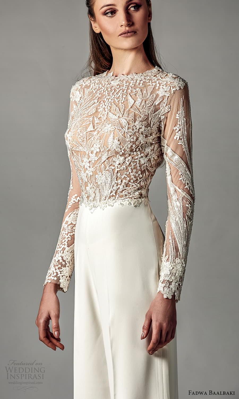 fadwa baalbaki spring 2021 bridal sheer long sleeves jewel neckline embellished bodice pant jumpsuit wedding dress (5) mv