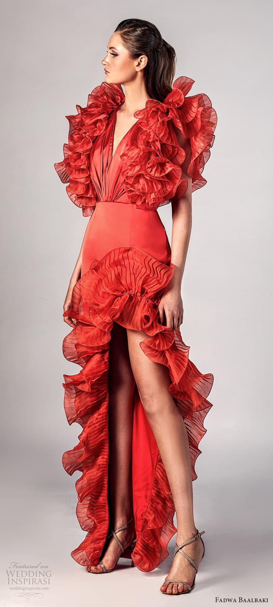 fadwa baalbaki spring 2021 bridal sleeveless ruffle straps v neckline sheath evening gown (13) sv