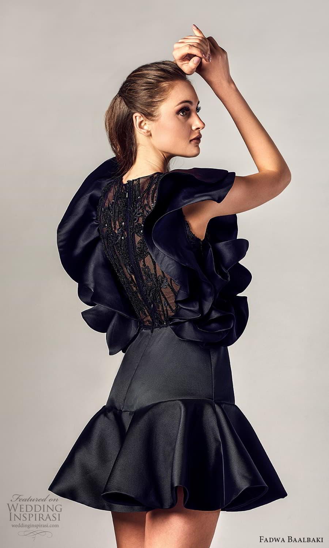 fadwa baalbaki spring 2021 bridal sleeveless ruffle straps v neckline short dress black (16) zb