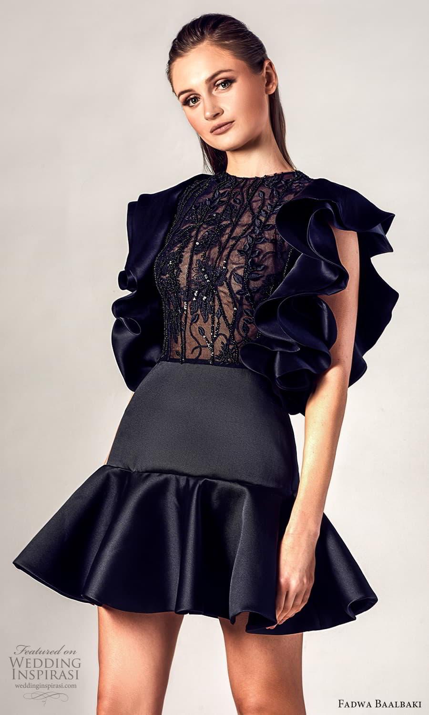fadwa baalbaki spring 2021 bridal sleeveless ruffle straps v neckline short dress black (16) zv