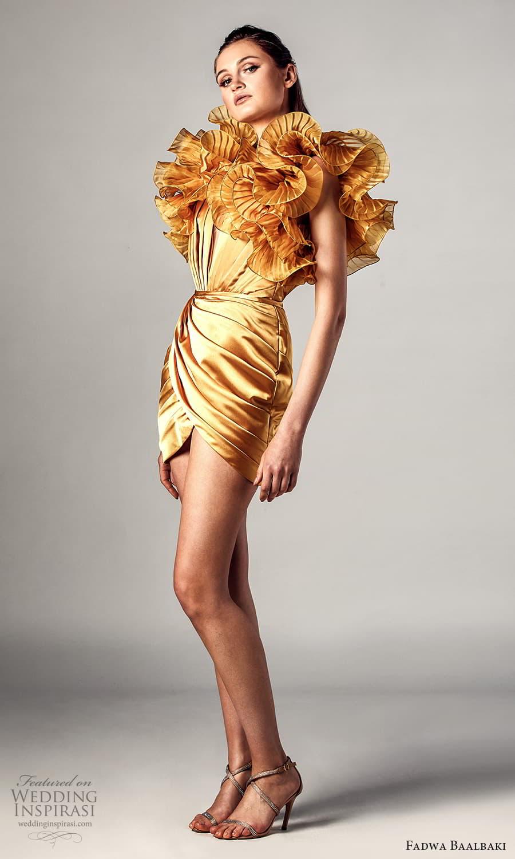 fadwa baalbaki spring 2021 bridal sleeveless ruffle straps v neckline short dress gold (15) mv