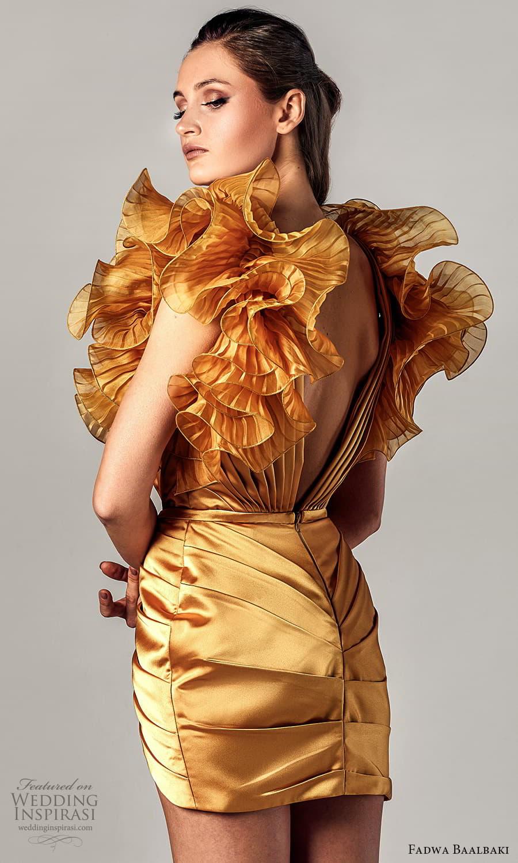 fadwa baalbaki spring 2021 bridal sleeveless ruffle straps v neckline short dress gold (15) zbv