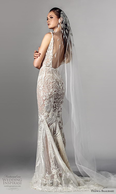 fadwa baalbaki spring 2021 bridal sleeveless straps v neckline fully embellished sheath wedding dress chapel train (4) bv