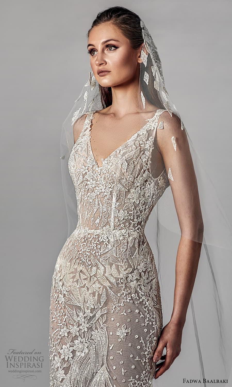 fadwa baalbaki spring 2021 bridal sleeveless straps v neckline fully embellished sheath wedding dress chapel train (4) mv