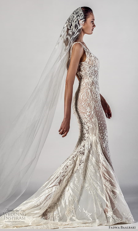 fadwa baalbaki spring 2021 bridal sleeveless straps v neckline fully embellished sheath wedding dress chapel train (4) sv