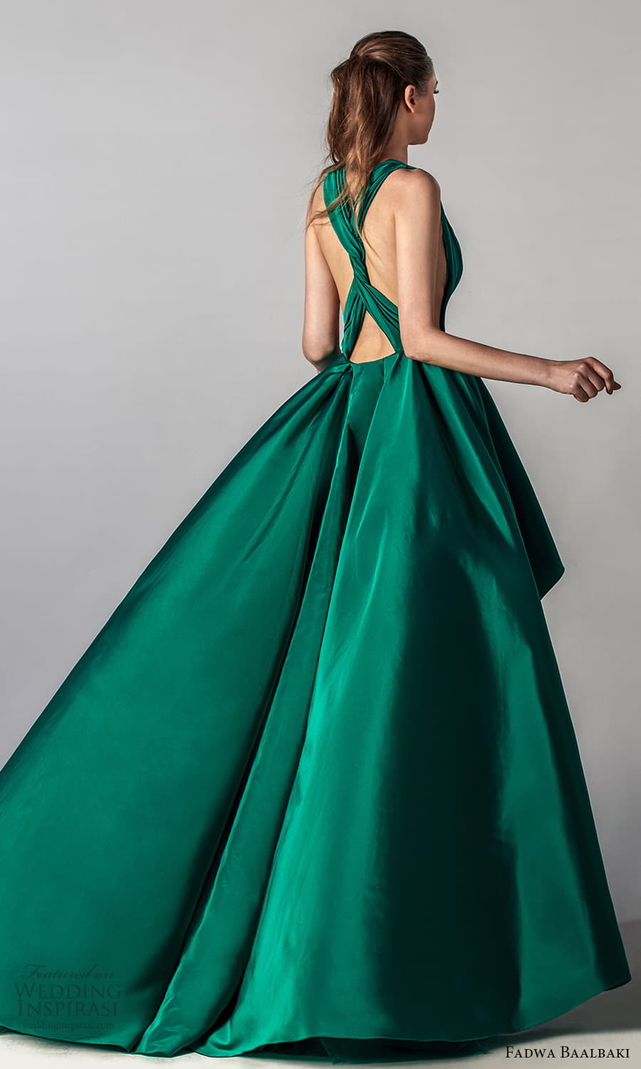 fadwa baalbaki spring 2021 bridal sleeveless thick halter straps plunging v neckline ruched bodice a line ball gown high low wedding dress chapel train green color (7) bv