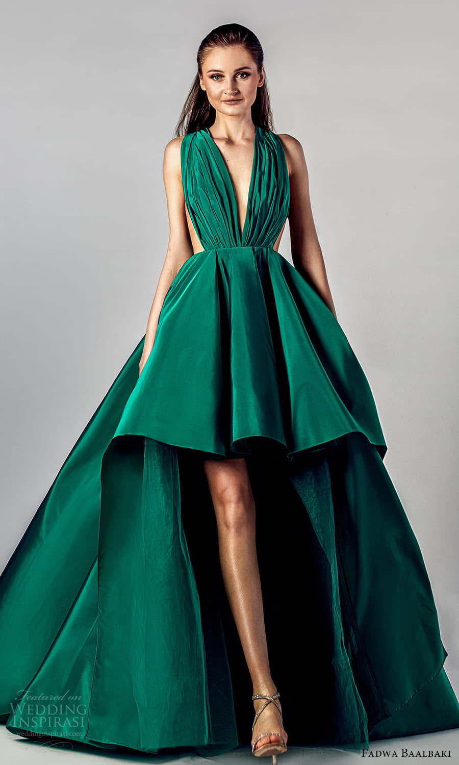 fadwa baalbaki spring 2021 bridal sleeveless thick halter straps plunging v neckline ruched bodice a line ball gown high low wedding dress chapel train green color (7) mv