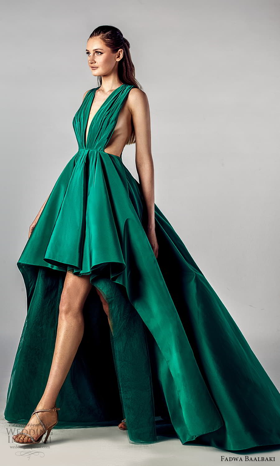 fadwa baalbaki spring 2021 bridal sleeveless thick halter straps plunging v neckline ruched bodice a line ball gown high low wedding dress chapel train green color (7) sv