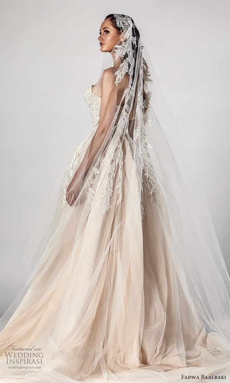 fadwa baalbaki spring 2021 bridal strapless sweetheart neckline fully embellished a line ball gown wedding dress slit skirt chapel train (2) bv