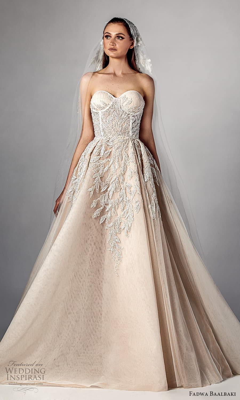 fadwa baalbaki spring 2021 bridal strapless sweetheart neckline fully embellished a line ball gown wedding dress slit skirt chapel train (2) fv