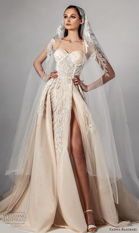 fadwa baalbaki spring 2021 bridal strapless sweetheart neckline fully embellished a line ball gown wedding dress slit skirt chapel train (2) mv